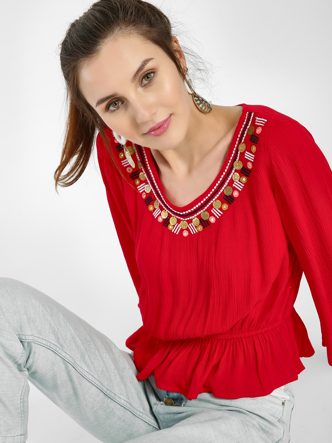 Kisscoast Red Embroidered Coin Detail Peplum Blouse 1