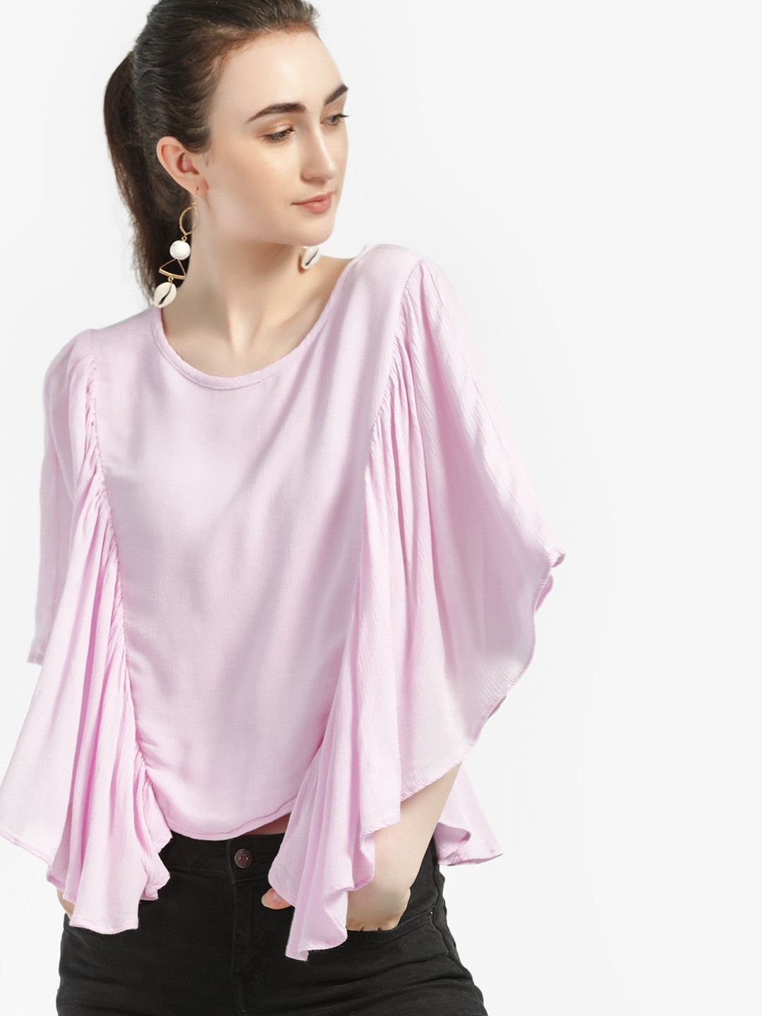 Kisscoast Lilac Flared Batwing Sleeve Blouse 1