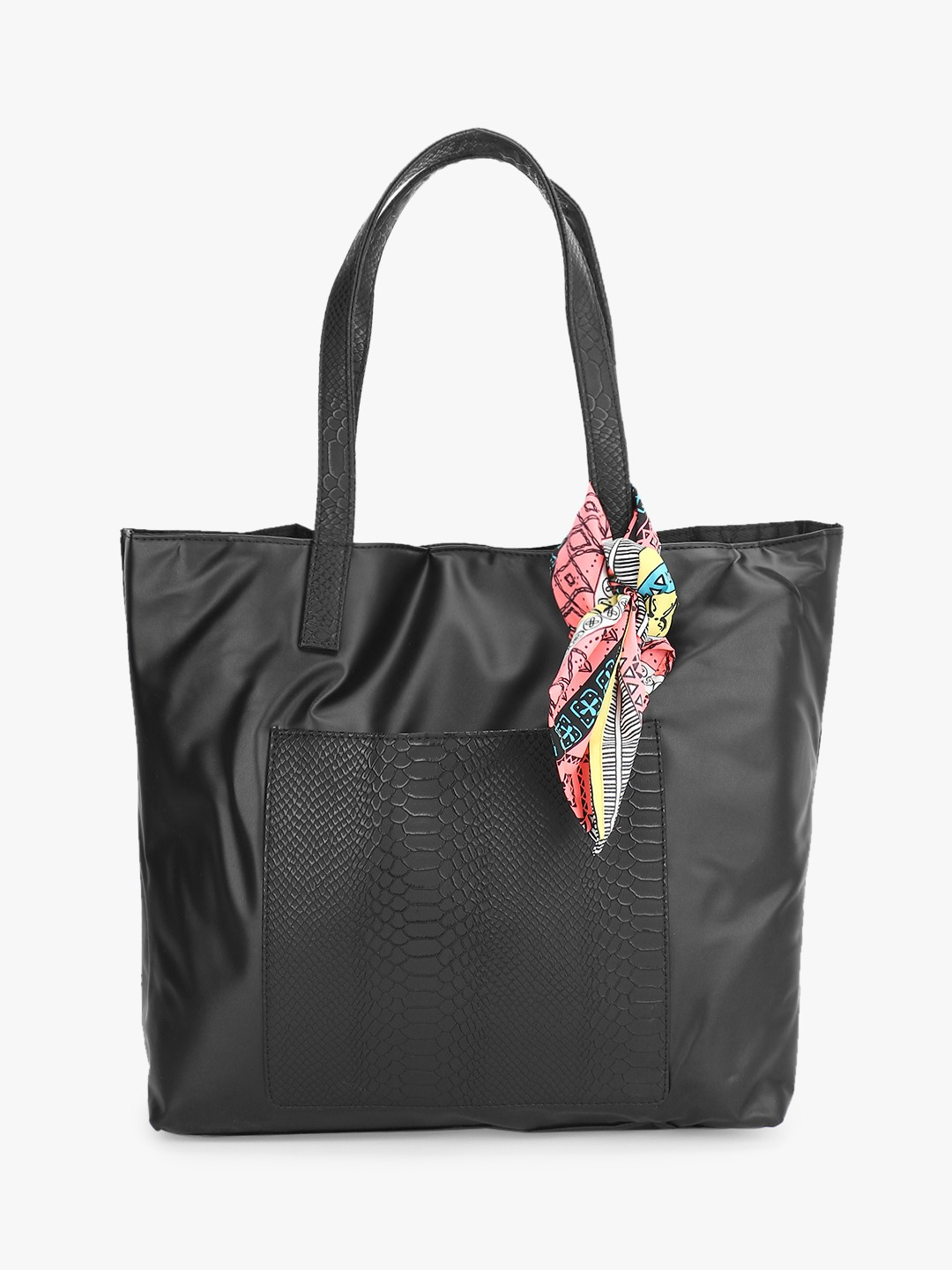 Gusto Black Textured Pocket Oversized Tote Bag 1