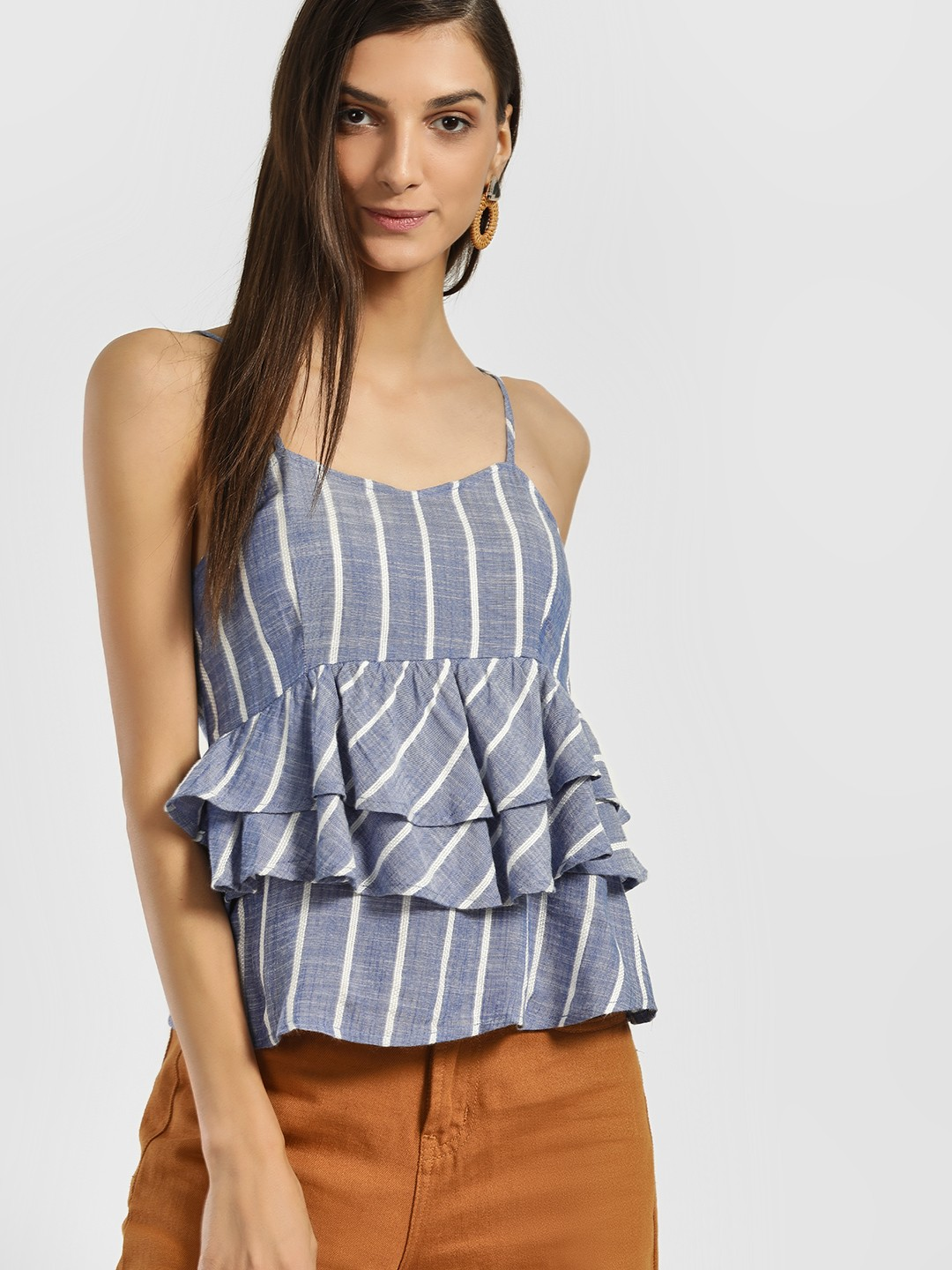 Only Blue Chambray Stripe Strappy Peplum Top 1