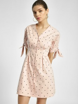 Origami Lily Polka Dot Print Shift Dress