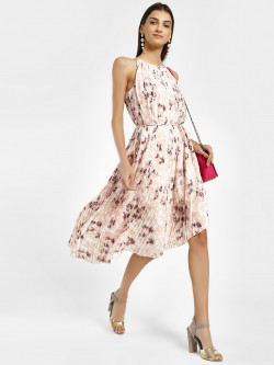 Vero Moda Marquee Floral Print Pleated Asymmetric Dress