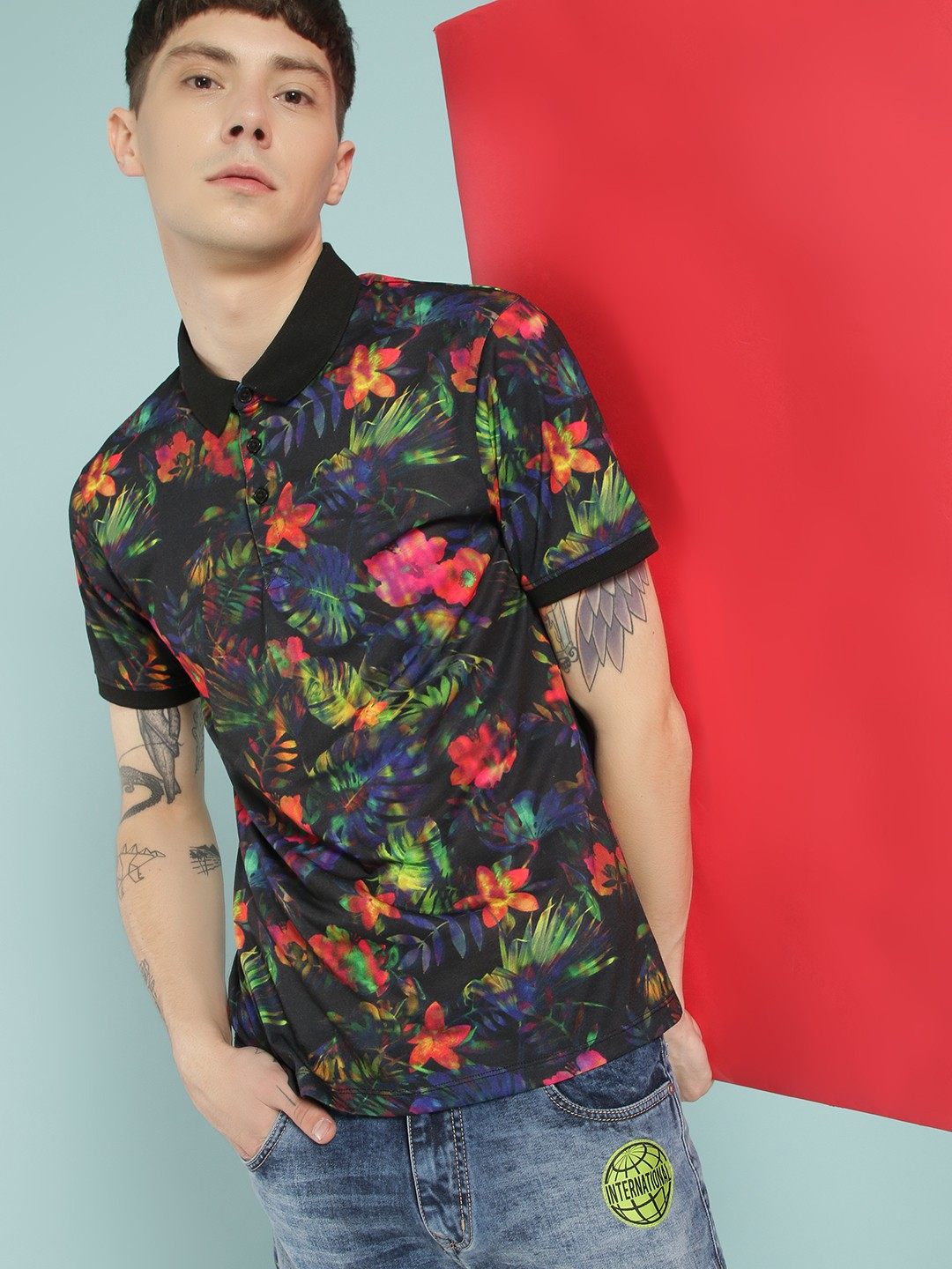KOOVS Multi Digital Floral Print Polo Shirt 1