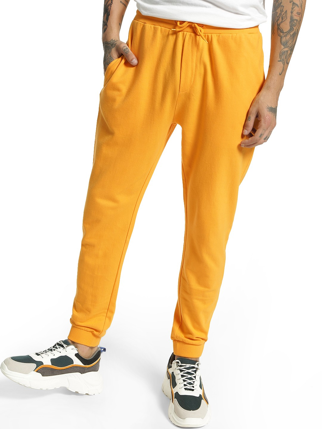 KOOVS Yellow Basic Slim Fit Joggers 1