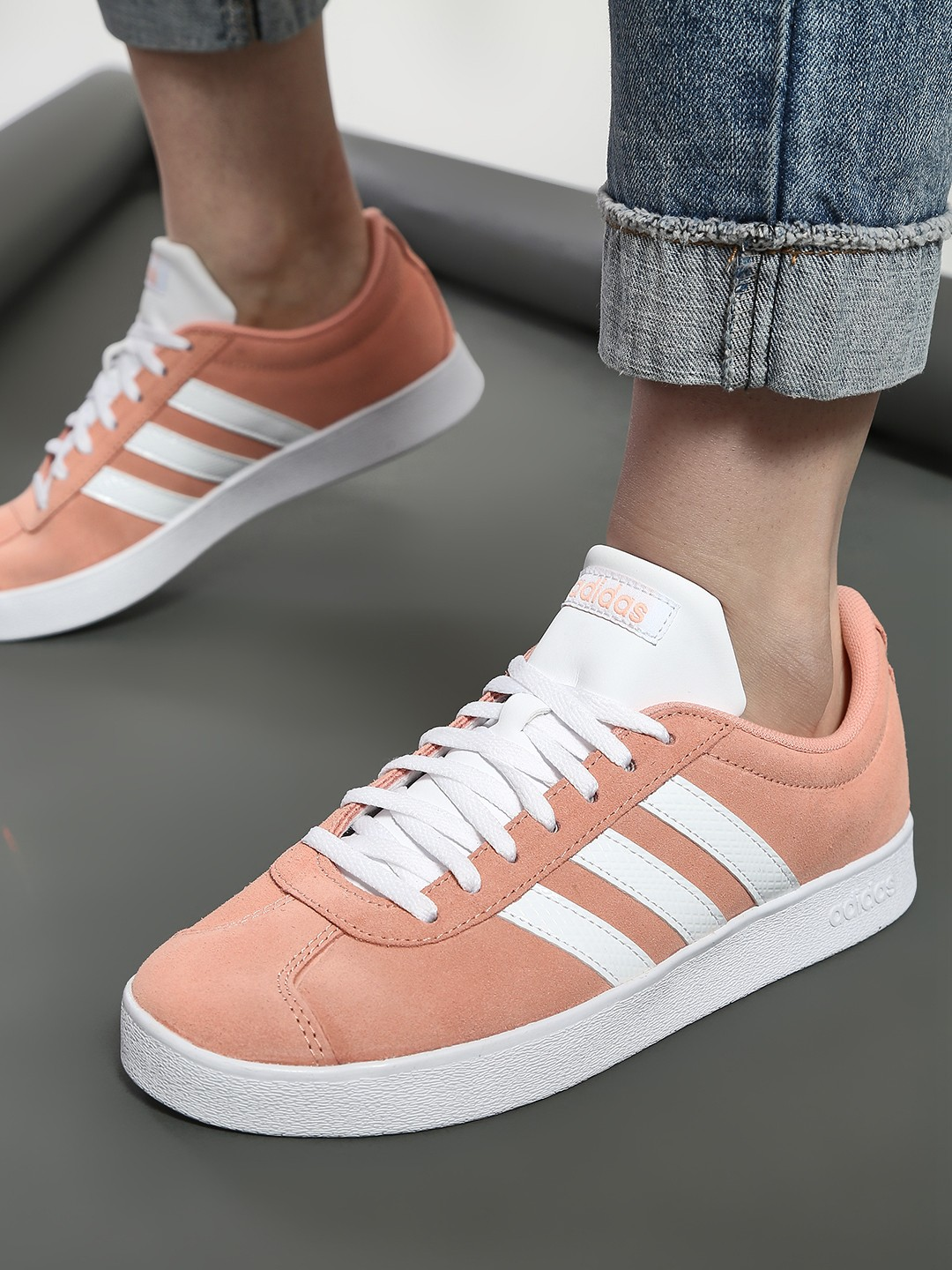 Adidas Pink VL Court 2.0 Shoes 1