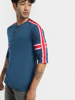 Deezeno Contrast Side Tape Henley T-Shirt