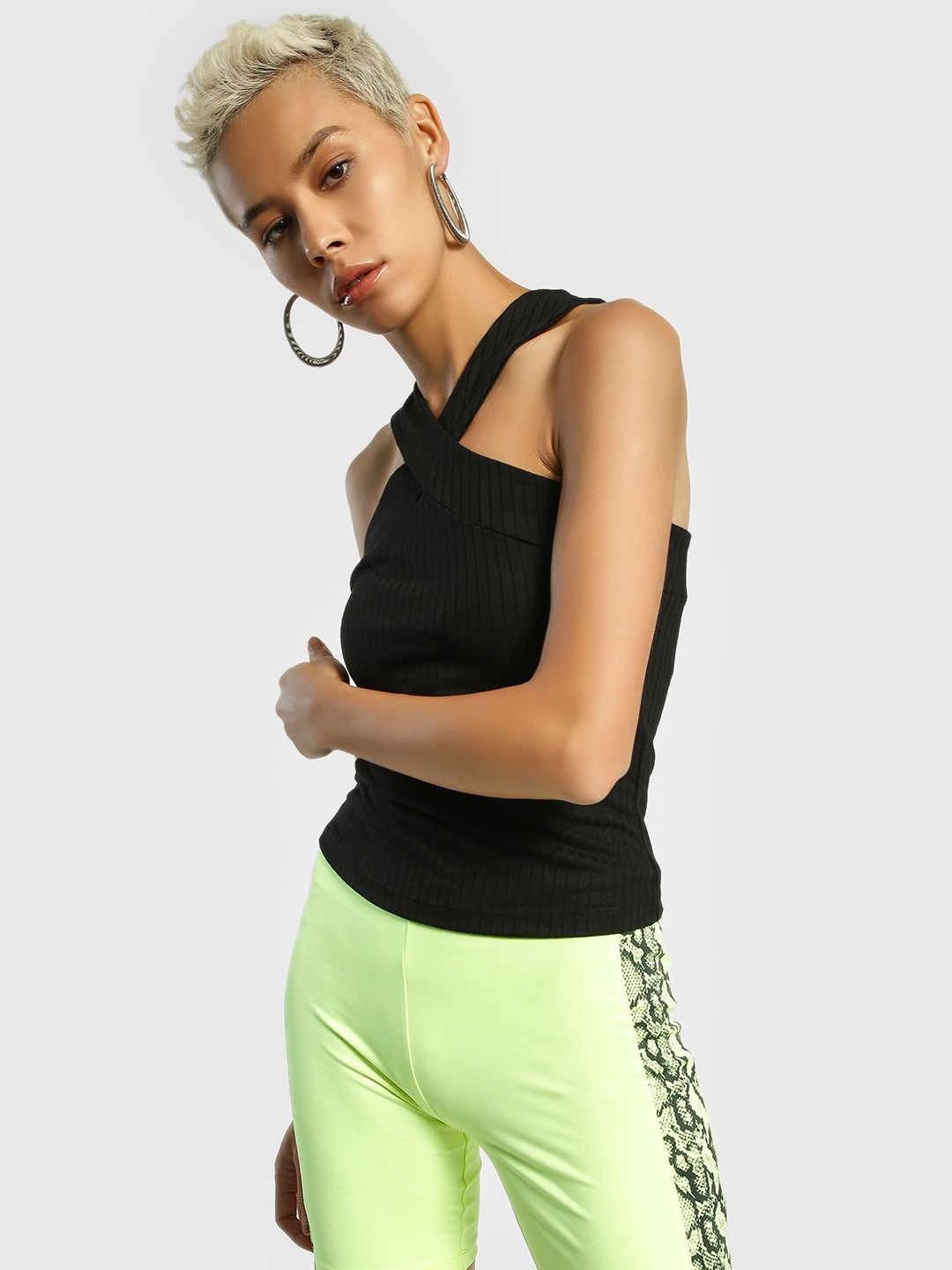 KOOVS Black Criss Cross Ribbed Top 1