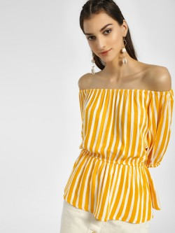 Miaminx Vertical Stripes Off-Shoulder Top