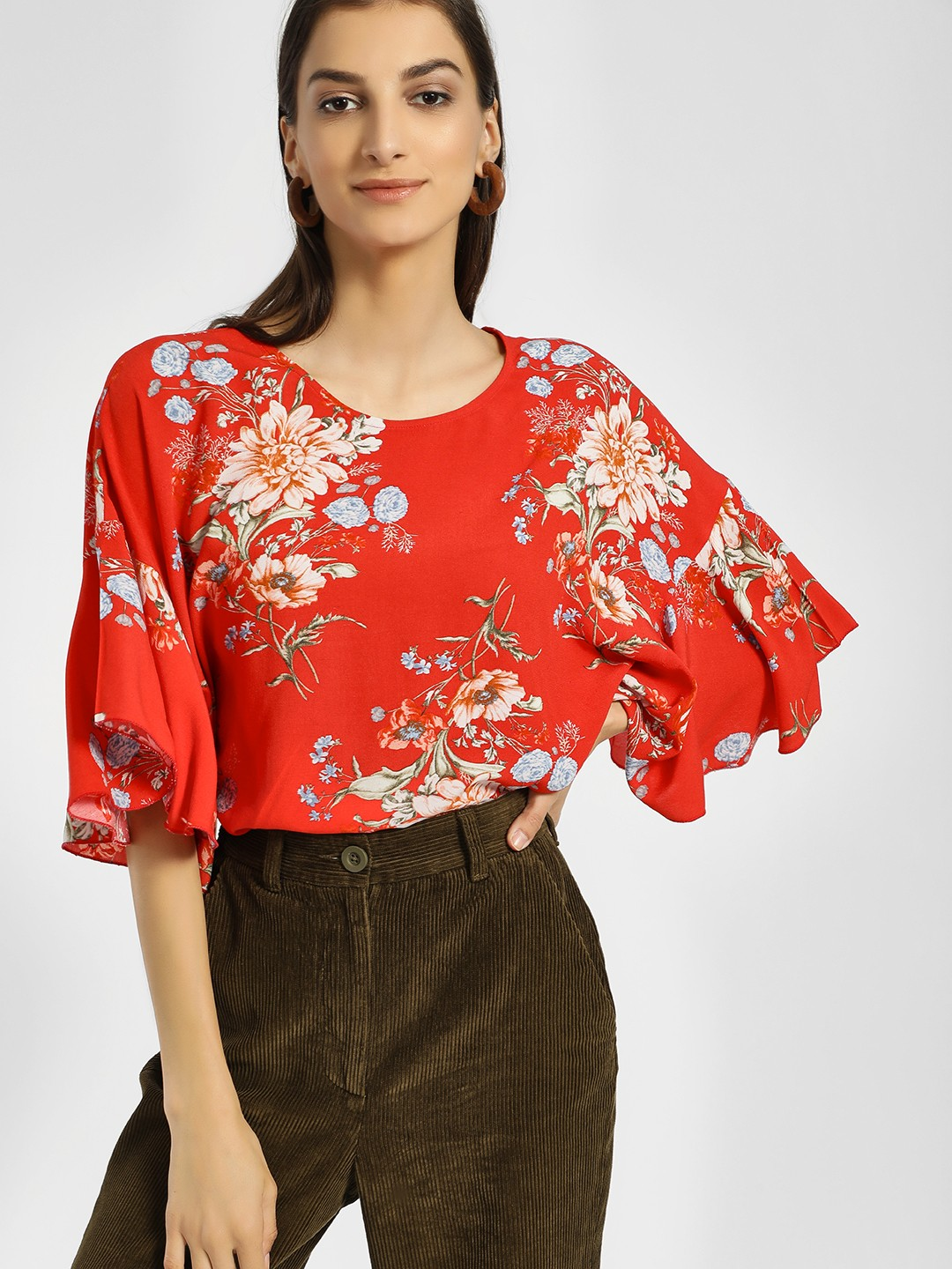 Miaminx Red Floral Print Oversized Blouse 1