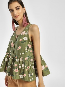 Miaminx Floral Print Sleeveless Blouse