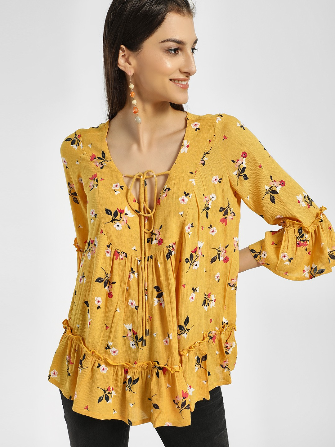 Miaminx Yellow Floral Print Front Tie-Up Blouse 1