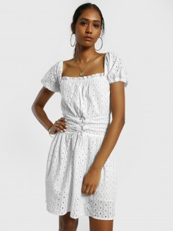 KOOVS Broderie Cut-Out Off-Shoulder Dress