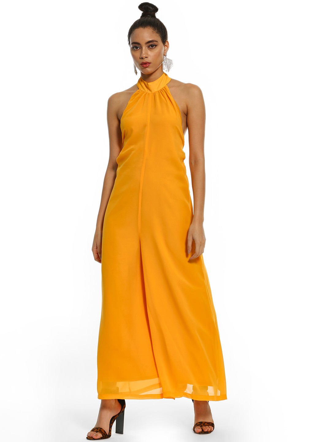 KOOVS Orange Halter Neck Jumpsuit 1