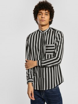 Mr Button Striped Long Sleeve Shirt