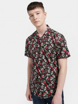 Mr Button Floral Print Cuban Collar Shirt