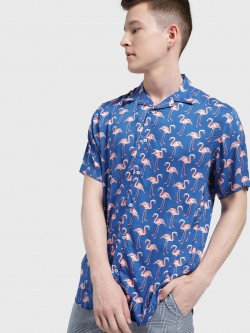 Mr Button Flamingo Print Cuban Collar Shirt