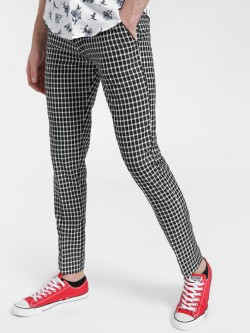 Mr Button Plaid Check Slim Trousers