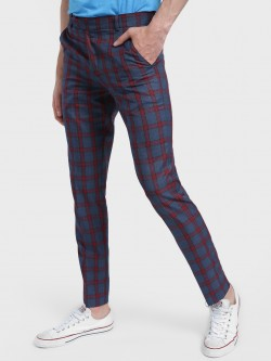 Mr Button Big Plaid Slim Trousers