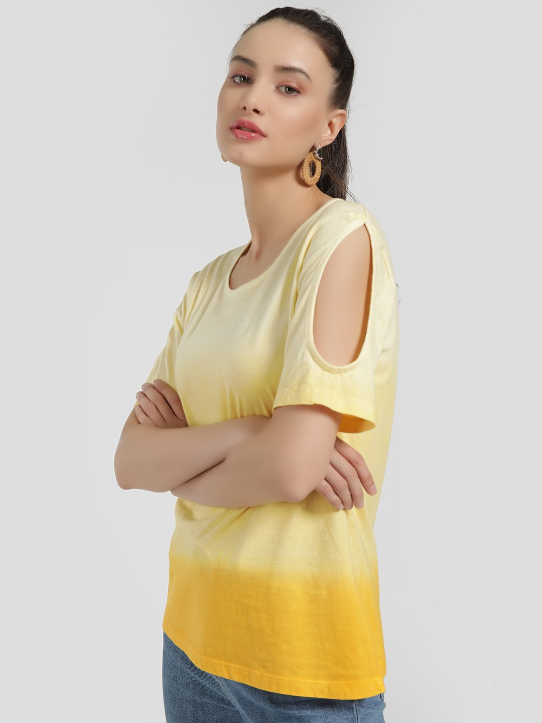 Sbuys Yellow Ombre Cold Shoulder T-Shirt 1