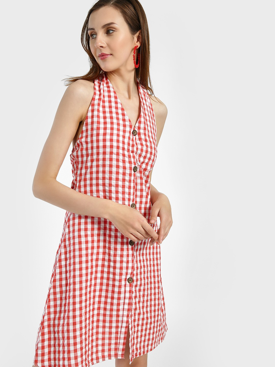 Sbuys Multi Halter Neck Gingham Check Shift Dress 1