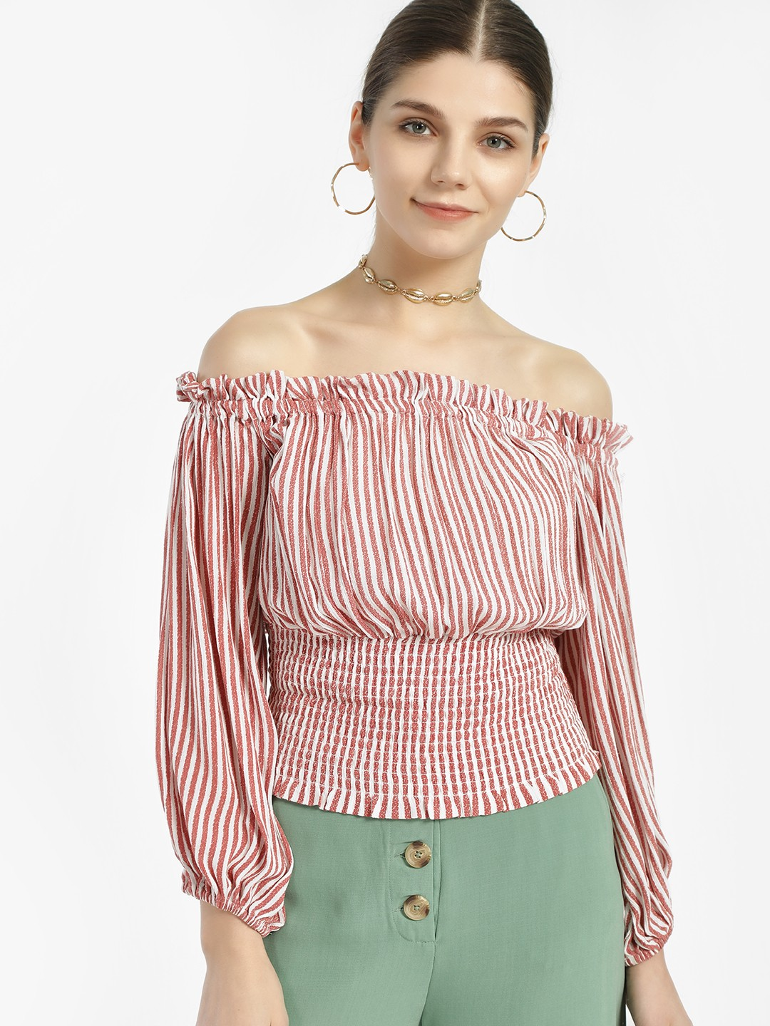 Sbuys Orange Off-Shoulder Striped Smocked Top 1