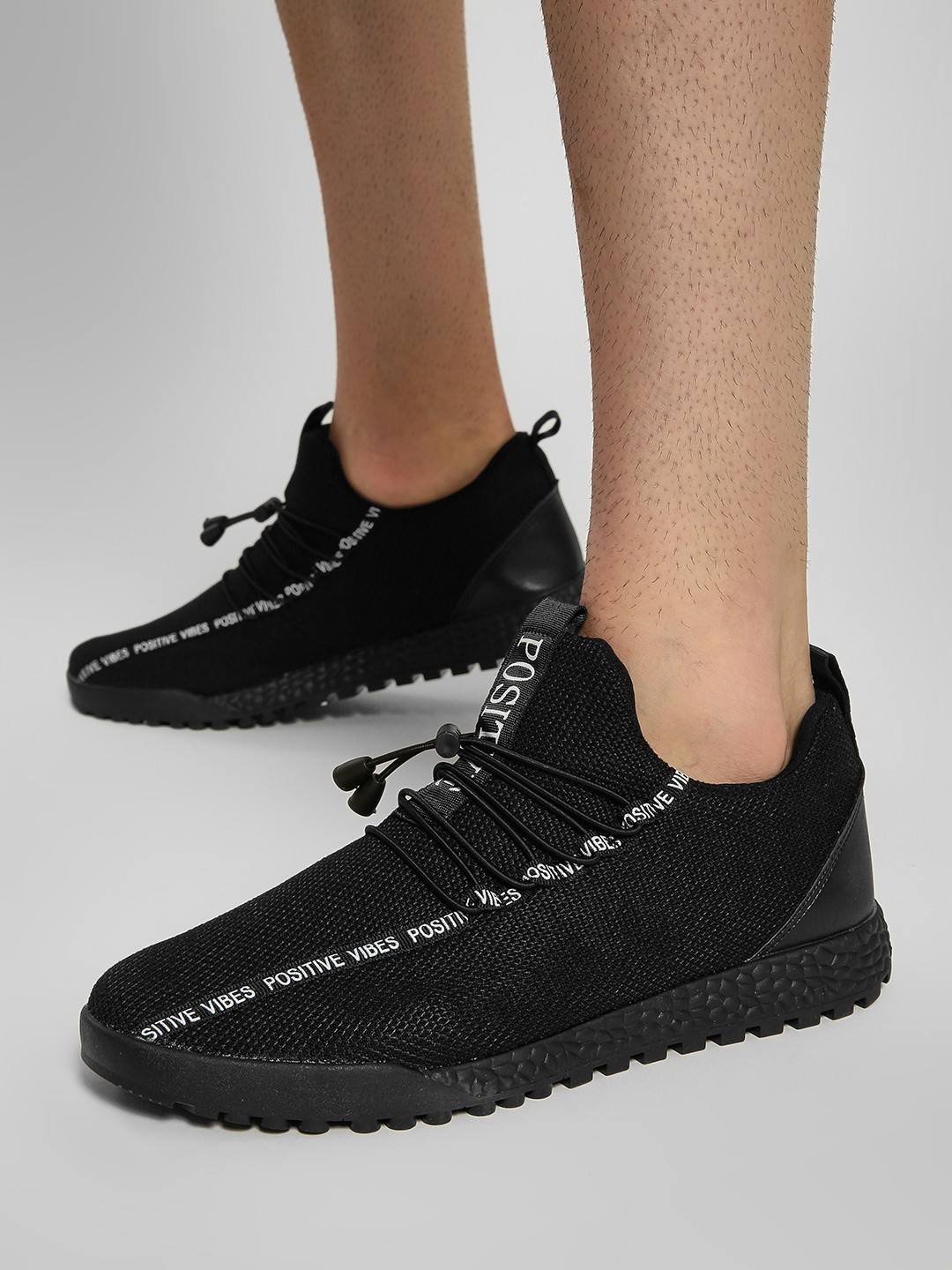 KOOVS Black Positive Vibes Knitted Sneakers 1