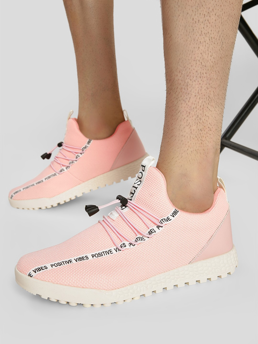 KOOVS Pink Positive Vibes Knitted Sneakers 1