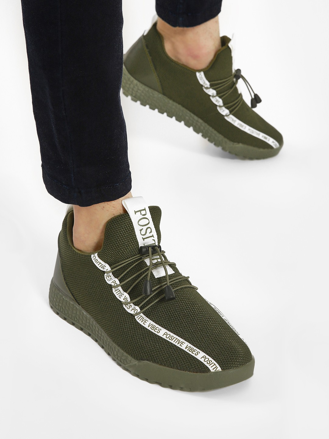 KOOVS Green Positive Vibes Knitted Sneakers 1