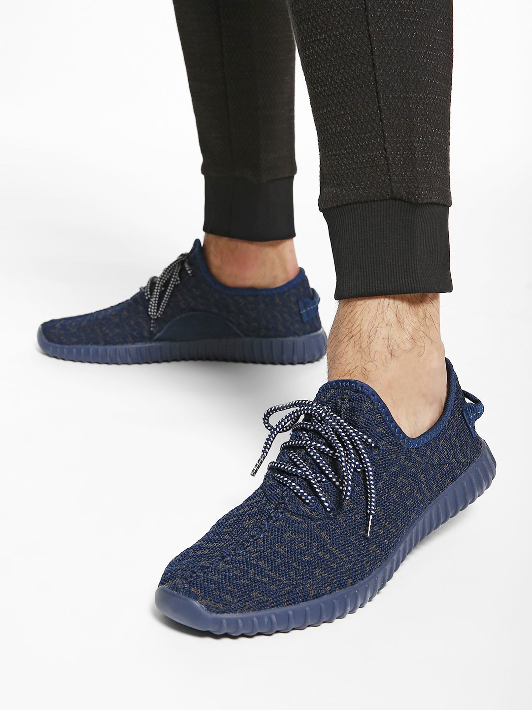 KOOVS Blue Camo Knitted Contrast Sole Shoes 1