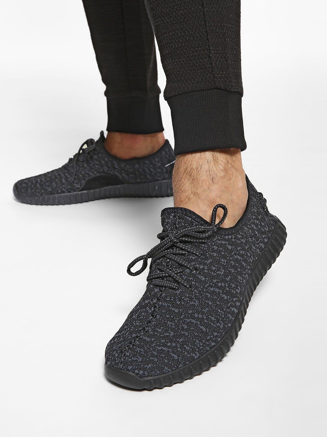 KOOVS Black Camo Knitted Lace-Up Shoes 1