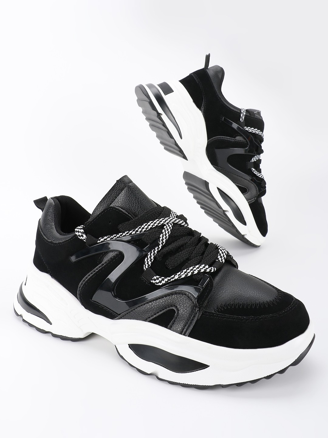 KOOVS Black Panelled Chunky Sole Trainers 1