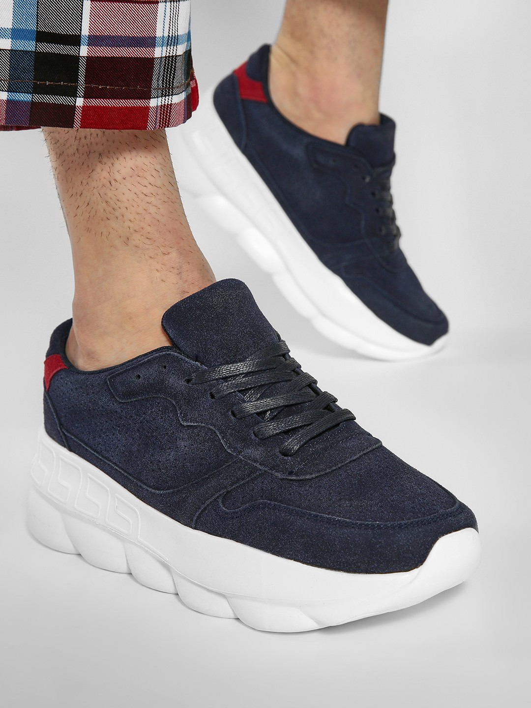 Kindred Blue Contrast Tab Perforated Sneakers 1