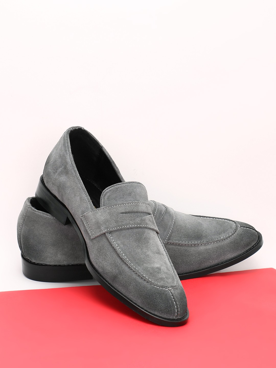 Griffin Grey Suede Penny Loafers 1