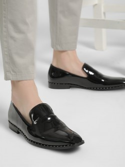 Griffin Studded Patent Loafers