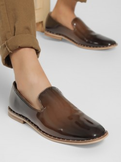Griffin Two-Tone Studded Patent Loafers