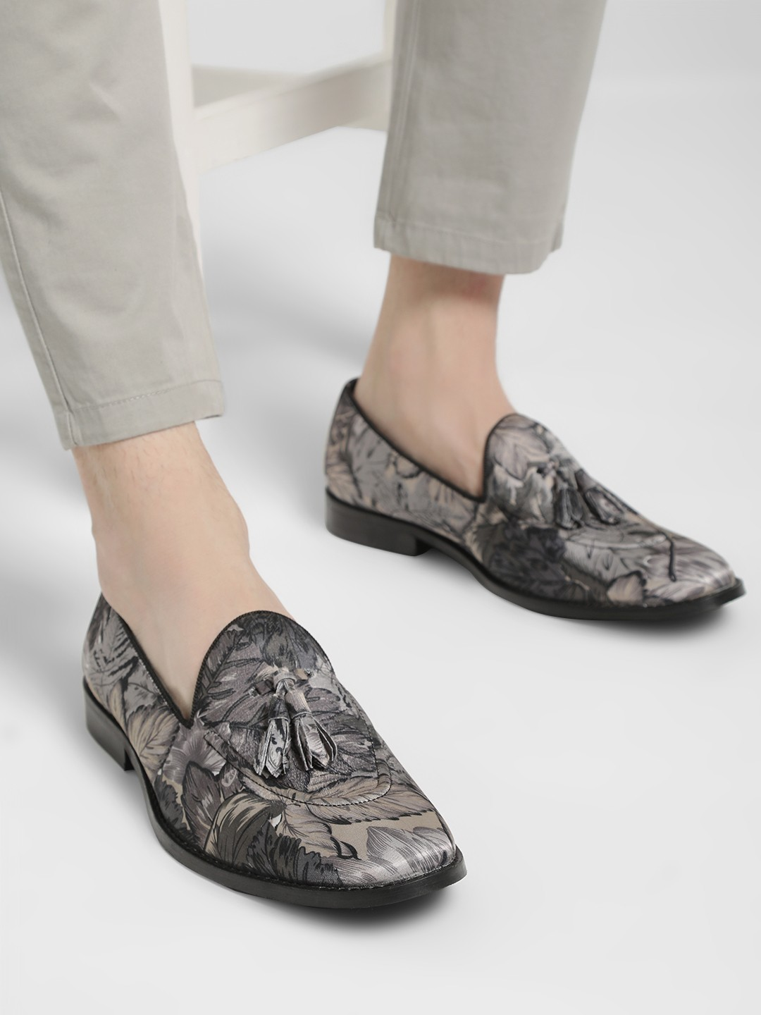 Griffin Multi Tropical Print Tassel Loafers 1