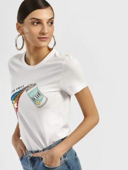Only Rainbow Sequin Placement Print T-Shirt