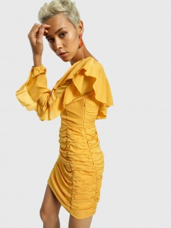 KOOVS One Shoulder Ruched Bodycon Dress