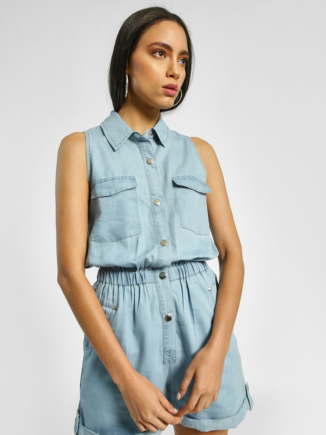 KOOVS Light Blue Light Wash Denim Playsuit 1