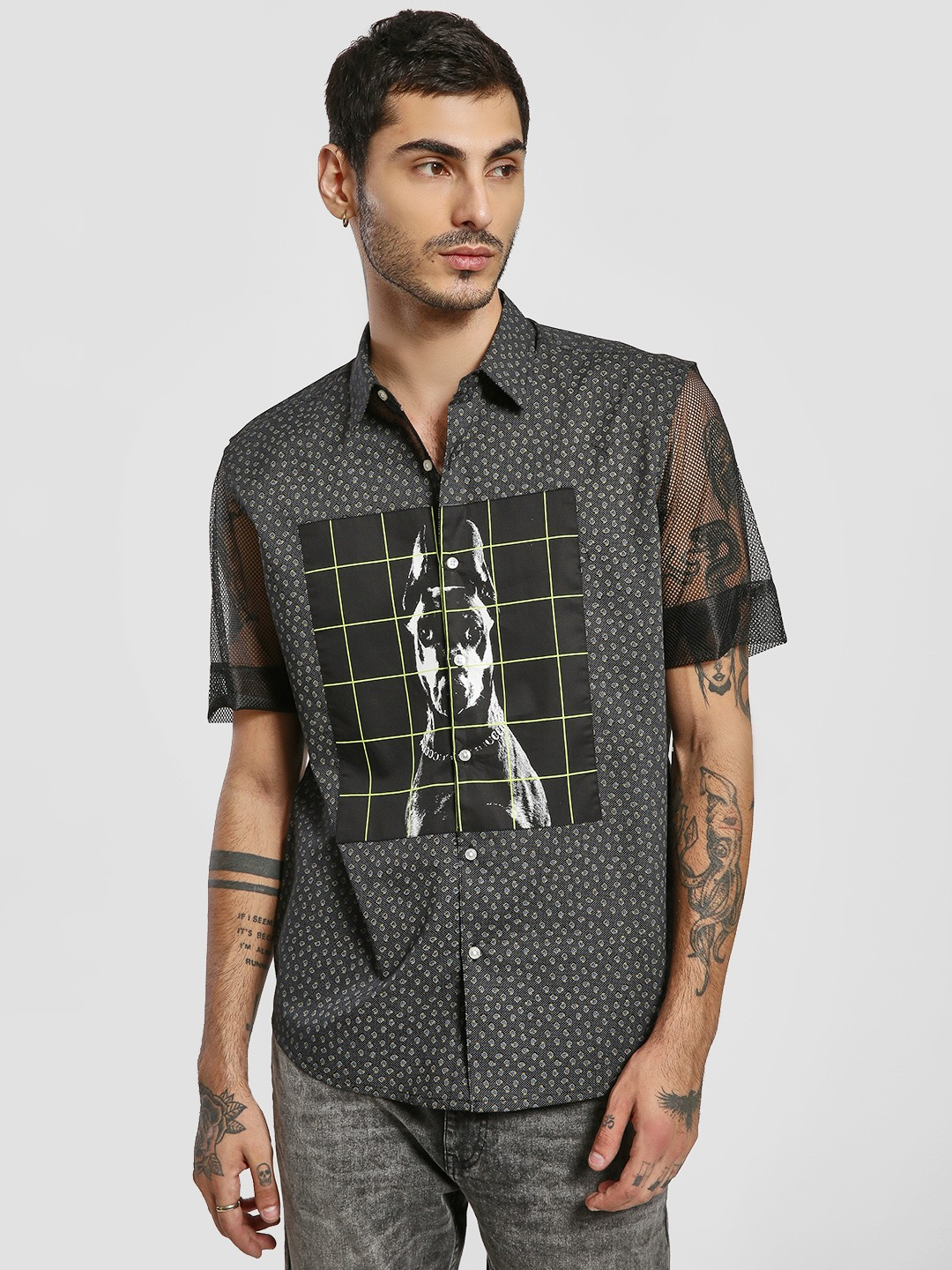 KOOVS Multi Cut & Sew Photo Overprint Shirt 1