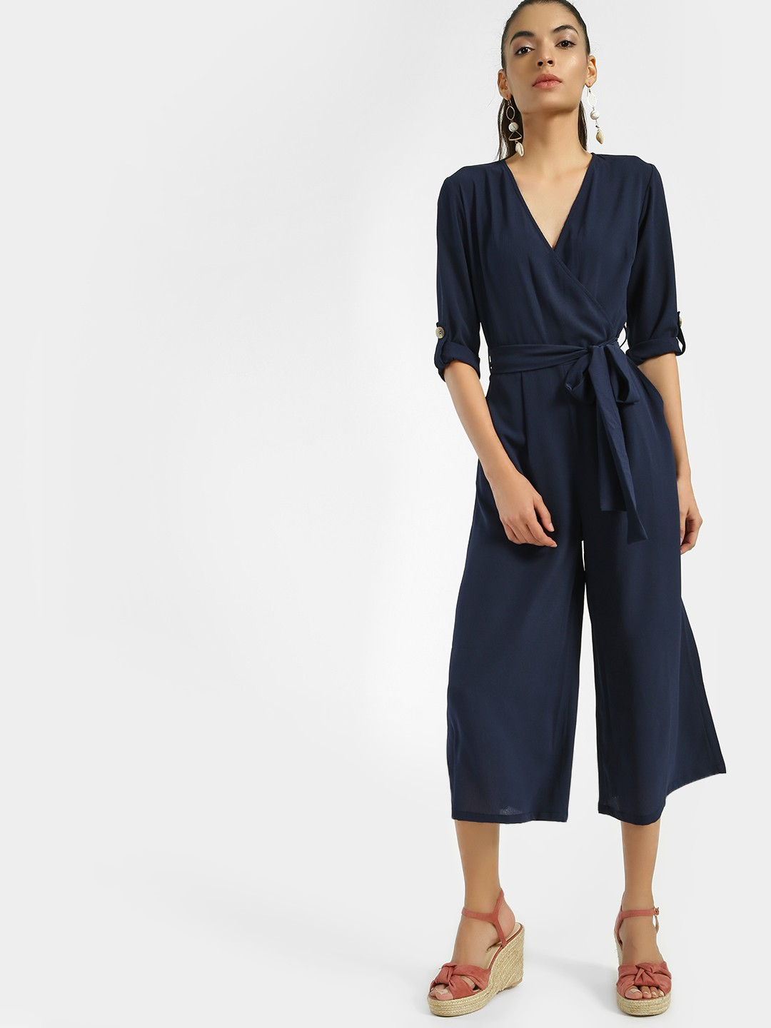 Femella Navy Tie-Knot Cropped Jumpsuit 1