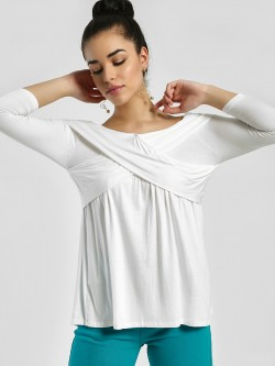 Femella Overlay Off-Shoulder Blouse