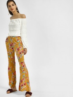 Ri-Dress Floral Print High Waist Flared Trousers