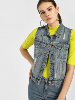 LOVEGEN Distressed Sleeveless Denim Jacket