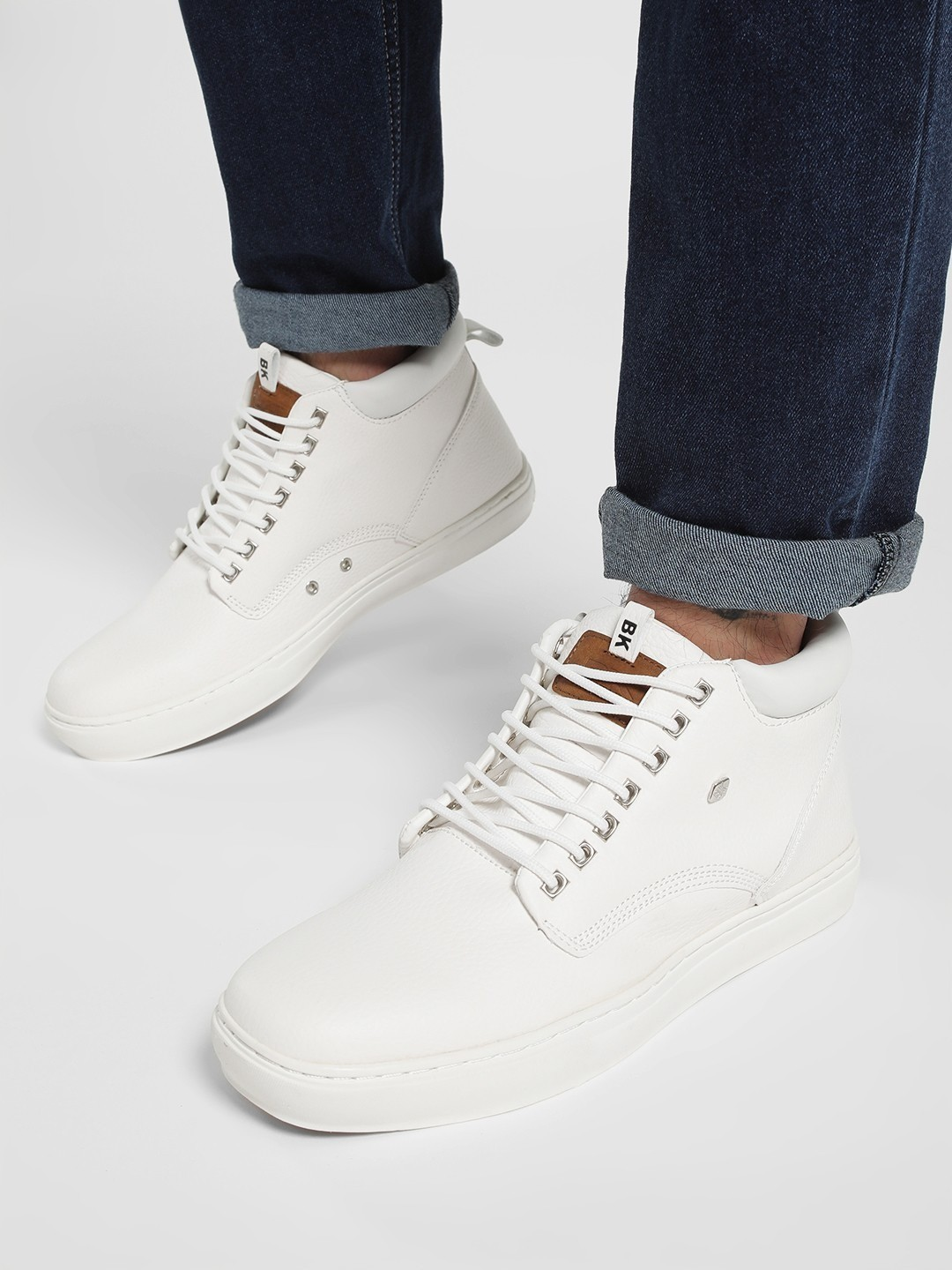 BRITISH KNIGHTS White Mid Top Collared Casual Shoes 1
