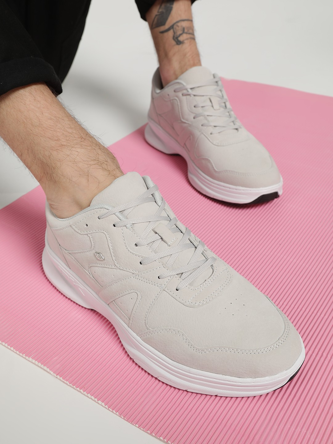 BRITISH KNIGHTS White Suede Panelled Trainers 1