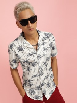 Spring Break Tropical Print Vertical Stripe Shirt