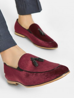 Mr Button Velour Tassel Trim Loafers