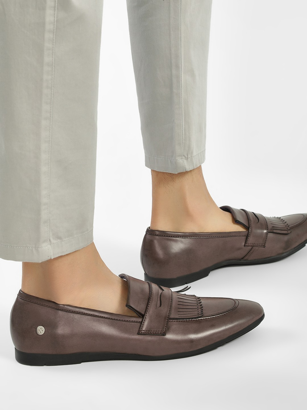 Mr Button Brown Fringe Detail Penny Loafers 1