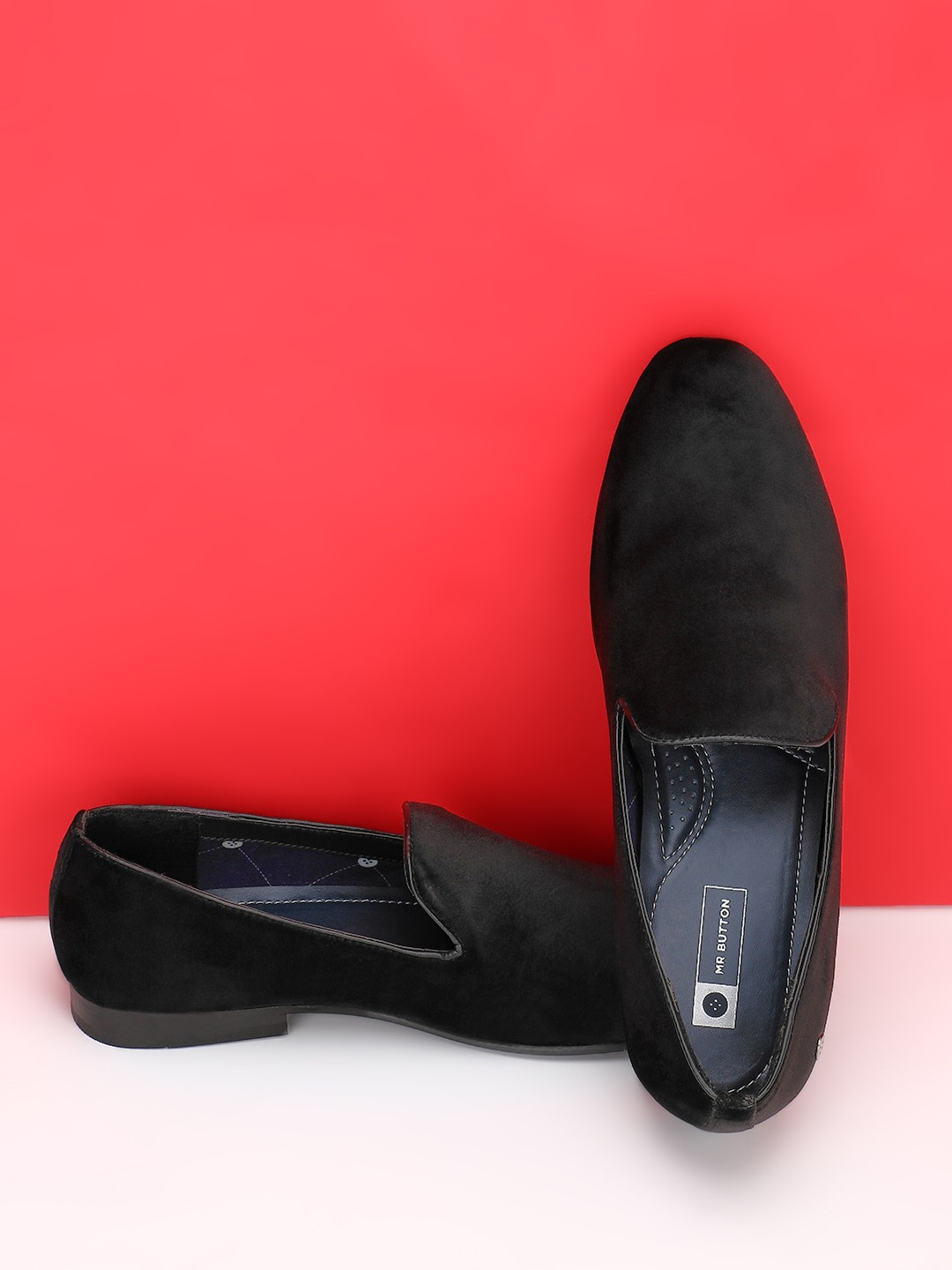 Mr Button Black Suede Loafers 1
